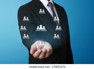 social network structure in hand Businessman