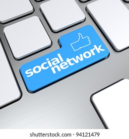 Social network text with concept thumbs up symbol on keyboard