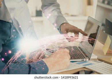 Social network theme hologram with businessman working on computer on background. Multi exposure.