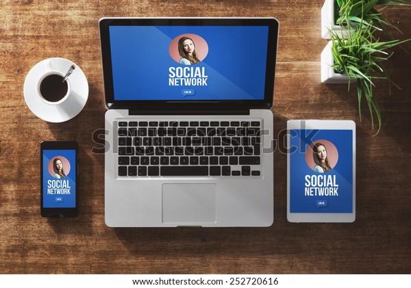 Benutzerprofil des sozialen Netzwerks auf Computerbildschirm, Tablet und Smartphone