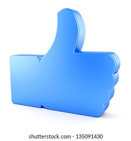 Social networking, blogging, communication concept. Blue glossy like symbol isolated on white background.
