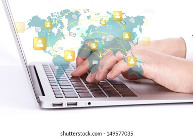 Social networking concept : Closeup of business woman hand typing on laptop keyboard