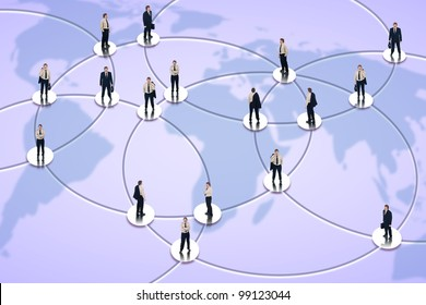 Social networking and global business concept with businessman in the nodes of worldwide network
