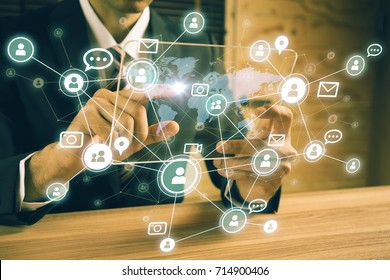 Social networking service concept. Global communication network.