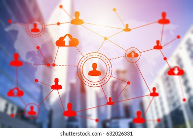 Social networking technologies on skyscrapers. Social media concept