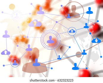 Social networking technologies over red linked sphere. Social media concept