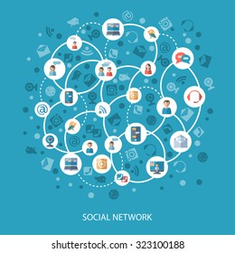 Social networks and communication connecting people online concept on blue background flat  illustration