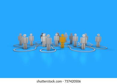 Social networks, relationships of diversity - 3D illustration, 3D rendering