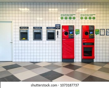 Social responsibility concept/ Coop hypermarket providing buying plastic and garbage machine for maintenance recycle business in Sweden ,Karlstad city 1 April 2018
