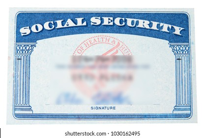 Social security card with blury ID on the white