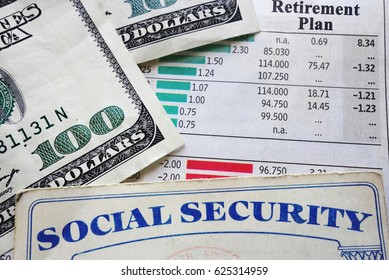 social security card, money and retirement planning numbers