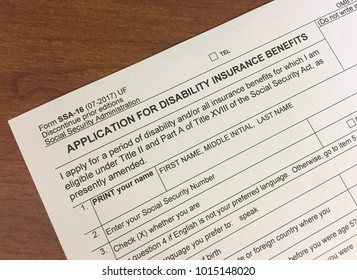Social Security Disability Insurance application sitting on a desk.