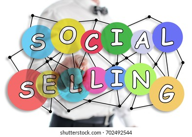 Social selling concept shown by a man in background