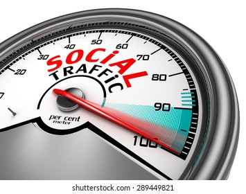 social traffic meter indicate hundred per cent, isolated on white background