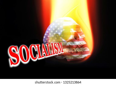 Socialism on fire with Uncle Sam Skull.
