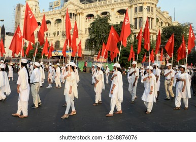 Socialist Unity Centre of India (Communist) or SUCI (C) activist rallied with red flag to commemorate November Revolution on November 15, 2018 in Calcutta, India.