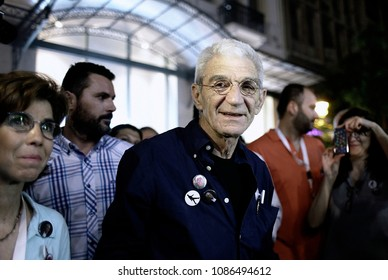 Socialist-backed mayoral candidate Yiannis Boutaris who won gestures while speaking in Thessaloniki, Greece on May 26, 2015