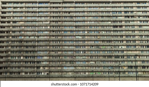 Socialist-era housing in Katowice, Poland. View of numerous windows in multistory residential block house