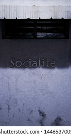 Socialite with blue light at night