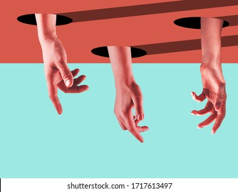 Society. Bright painted human hands touching by fingers. Contemporary art collage. Modern design work in vibrant trendy colors. Stylish and fashionable composition, youth culture. Copyspace.