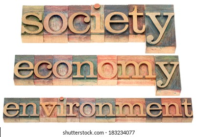 society, economy, environment -a collage of  isolated text in letterpress wood type printing blocks stained by color inks
