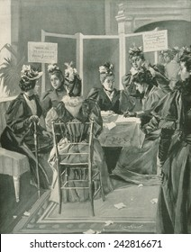 Society women gather signatures on petition for woman's suffrage in the fashionable Sherry's restaurant, New York City. Illustration on the cover of Frank Leslie's Illustrated Newspaper, May 3, 1894.