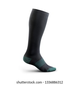 Sock in high resolution on an isolated white background socks gaiters of black color with birch inserts. Compression sock for sports activities poisoned on a white background
