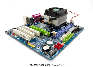 Socket 775 motherboard isolated on white