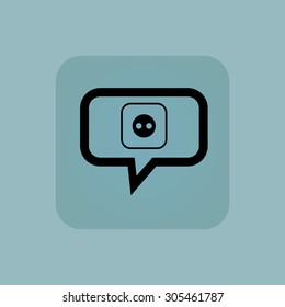 Socket in chat bubble, in square, on pale blue background