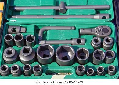 Socket hex tools set equipment in box