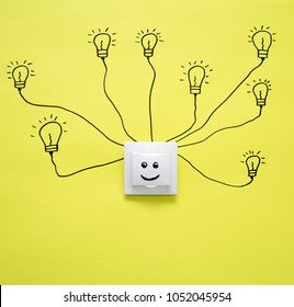 Socket and switch electrical outlet. Humanactivity or time management concept