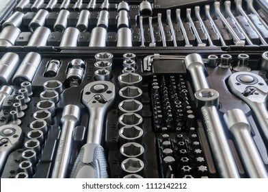 Sockets, tools, wrenches, spanners and bits in a chrome vanadium socket set.