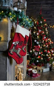 socks for Christmas gifts in the fireplace