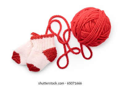 Socks and skein on a white background