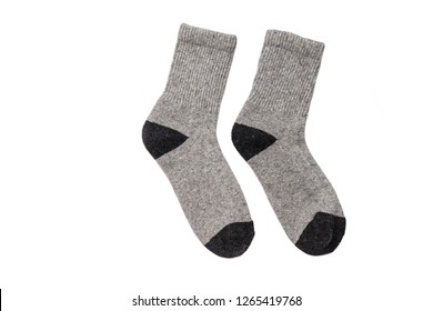a3ce6e003ac5e Socks winter warm hiking wool rag knit isolated on white background/ Flat  lay/ Top