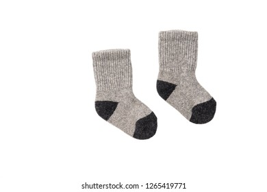 Socks winter warm hiking wool rag knit isolated on white background/ Flat lay/ Top view