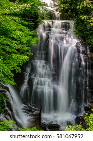 Soco Falls just outside of Cherokee, North Carolina located in the heart of the Blue Ridge Mountains.