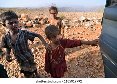 Socotra, Yemen - March 8, 2010: Unidentified children shown at Socotra island. Children grow up in the poorest country with little opportunity for education
