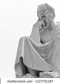 Socrates the ancient greek philosopher in deep thoughts, space for text