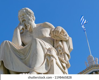 Socrates the ancient philosopher and greek flag with vibrant blue sky background