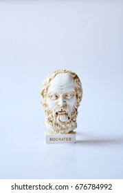 Socrates, lived in Athens (470 BC - 399 BC) was a Greek Athenian philosopher. It is one of the founders of Western philosophy. White marble bust of him./Statue of Socrates