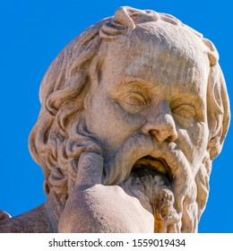 Socrates portrait, the ancient philosopher and thinker, detail of marble statue in Athens Greece