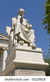 Socrates statue at the Academy of Athens building in Athens, Greece