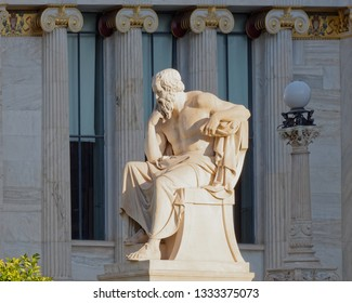 Socrates statue, the ancient Greek philosopher in front of the national academy of Athens, Greece