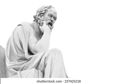 Socrates statue at Athens academy, black and white image