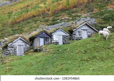 Sod Roof Huts in Norangsdalen, More og Romsdal, Norway.