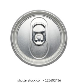 soda or beer Can, Top view, pull tab ring unopened Isolated on a white background - Realistic photo image