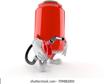 Soda can character holding gasoline nozzle isolated on white background. 3d illustration