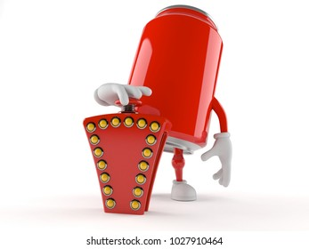 Soda can character pushing quiz button isolated on white background. 3d illustration