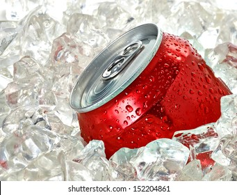 Soda or cola can in crushed ice cubes